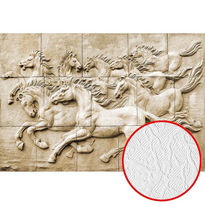 Фотообои Divino H-086 Фактура фреска Винил на флизелине (4*2,7) Бежевый, Животные