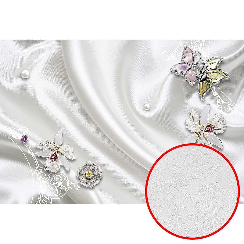 Фотообои Divino H-082 Фактура живопись Винил на флизелине (4*2,7) Белый, Цветы