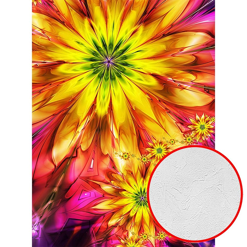 Фотообои Divino C-181 Фактура живопись Винил на флизелине (2*2,7) Разноцветный, Цветы