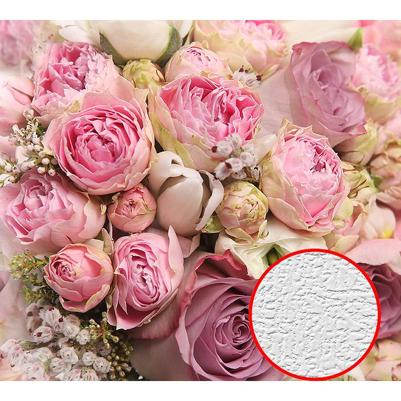 Фотообои Divino C-145 Фактура холст Винил на флизелине (3*2,7) Розовый, Цветы