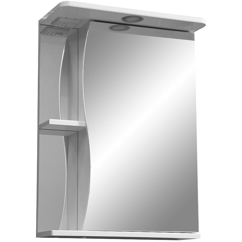 зеркало шкаф stella polar винчи 50 с подсветкой левый белый sp 00000033 Зеркальный шкаф Stella Polar Волна Верея 55 SP-00000041 с подсветкой Белый