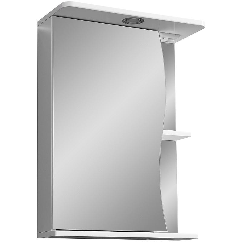 зеркало шкаф stella polar винчи 50 с подсветкой левый белый sp 00000033 Зеркальный шкаф Stella Polar Волна Верея 55 SP-00000040 с подсветкой Белый