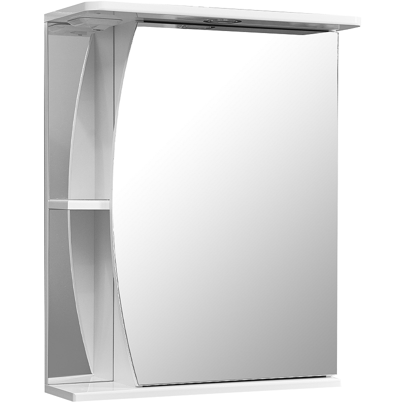 зеркало шкаф stella polar винчи 50 с подсветкой левый белый sp 00000033 Зеркальный шкаф Stella Polar Волна Лана 55 SP-00000044 с подсветкой Белый