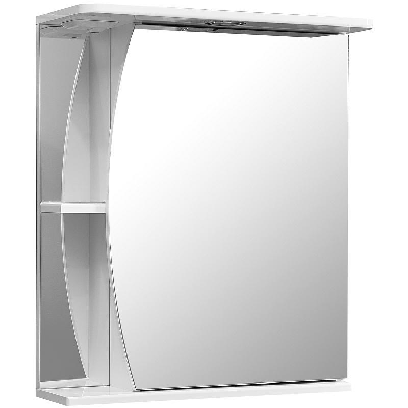 зеркало шкаф stella polar винчи 50 с подсветкой левый белый sp 00000033 Зеркальный шкаф Stella Polar Волна Лана 60 SP-00000049 с подсветкой Белый