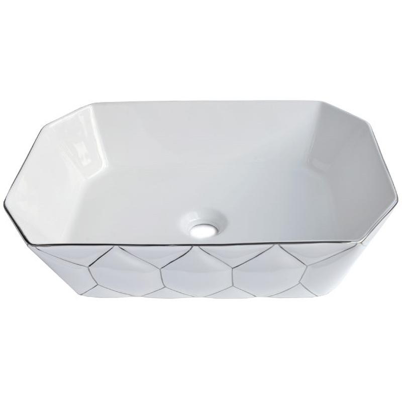 Раковина-чаша Bronze de Luxe 50 1398SL Белый глянец с серебряным декором раковина bronze de luxe 1616