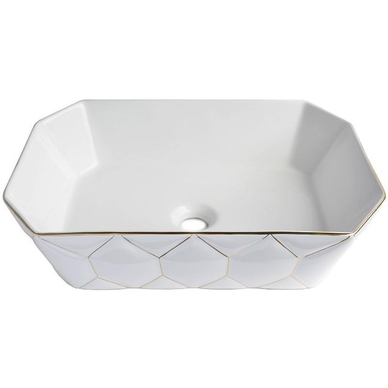 Раковина-чаша Bronze de Luxe 50 1398GL Белый глянец с золотым декором раковина bronze de luxe 1616