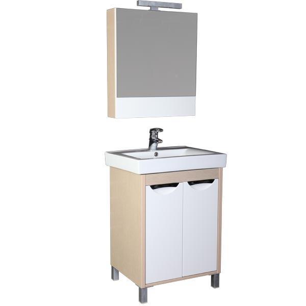 Гретта 60 венге (фасад белый) с 2 ящикамиМебель для ванной<br>Тумба под раковину Акванет 171595 Гретта 60. В комплект поставки входит тумба. Цвет: венге (фасад белый).<br>