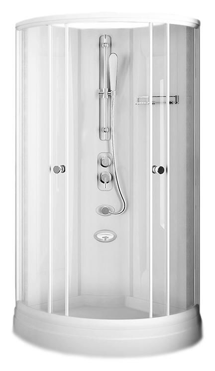 Паола 1 стекла матовые, профиль белый, задние стенки белые, поддон белыйДушевые кабины<br>Душевая кабина без крыши Радомир Паола 1 1-05-1-0-0-0571 угловая, формой четверть круга с двумя раздвижными дверцами из матового стекла. Дверцы плавно скользят по направляющим с помощью роликового механизма и надежно закрываются, благодаря магнитным уплотнителям. Прочный алюминиевый профиль белого цвета. Нано-покрытие стекол Radomir® ClearGlass для предотвращения разводов и подтеков. Поддон и задние стенки изготовлены из качественного 100% сантехнического акрила. Дно поддона имеет рельефное покрытие с технологией Radomir® Non-Slip, которое предохраняет от скольжения. По желанию кабину можно дополнить гидромассажем и крышей. Цена указана за душевую кабину, стеклянную полочку, центральную стойку со смесителем и душевой лейкой, поддон на каркасе с устройством слива. Все остальное приобретается дополнительно.<br>
