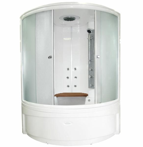 Даниэла ДАНИЭЛА компл. 1Душевые боксы<br>Душевой бокс «ДАНИЭЛА компл. 1», чаша ванны, рама-подставка, слив-перелив полуавтоматический, фронтальная панель, боковые стенки, крыша, стеклянные шторки, контроллер 300, функция «Пар», FM-приемник, освещение, динамик - 2 шт., вентилятор вытяжки, озоновая дезинфекция, 6 форсунок горизонтального душа, вертикальный душ «Тропический дождь», 4-х позиционный смеситель, излив «МиниСфера» - 2 шт., деревянное сиденье, 2 стеклянные полочки, ручной душ<br>