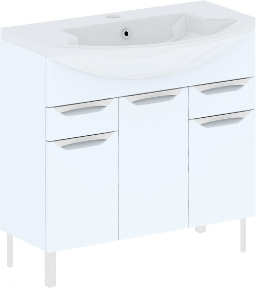Cosmo New 90 на ножках (исполнение I) Белый глянецМебель для ванной<br>В цену входит тумба напольная Gemelli Сosmo New укомплектованная раковиной Logic. Все комплектующие (зеркала, пеналы, шкаф) приобретаются отдельно.<br>