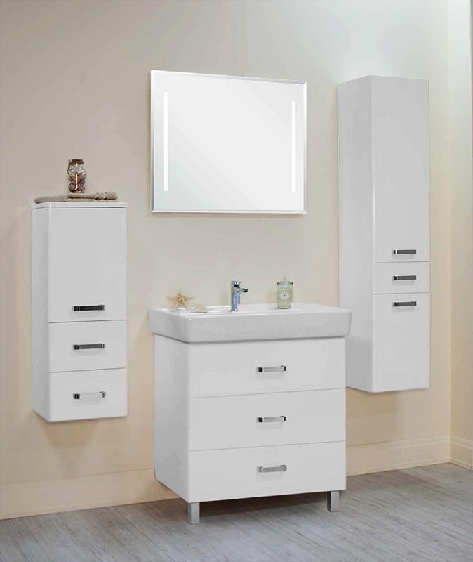 Америна 80 М белая глянцеваяМебель для ванной<br>Тумба под раковину Акватон Америна 80 М 1A169101AM010 с тремя выдвижными ящиками и изящными глянцевыми опорами, что удобно в тех ванных комнатах, где стены недостаточно укреплены и есть сомнение, что они выдержат подвесную мебель. Направляющие нижнего крепежа обеспечивают жесткое и надежное крепление ящиков. Плавный ход ящиков со встроенными доводчиками. Дополнительно организовано нижнее подключение труб водоснабжения и канализации. Корпус выполнен из ДСП с ламинированным покрытием, обладает повышенной влагостойкостью и сопротивляемостью износу, не выделяет вредных испарений, хорошо выдерживает воздействие бытовых химических средств, за исключением абразивных материалов и едких веществ и жидкостей. Фасадные детали изготавливаются из МДФ с пятислойной покраской. Цена указана за тумбу. Раковина и все остальное приобретается дополнительно.<br>