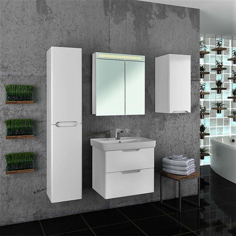 Q 80 99.0003 БелаяМебель для ванной<br>Тумба под раковину Dreja Eco Q 80 99.0003 подвесная, отличается современным дизайном и высоким качеством. Оснащена с двумя выдвижными ящиками, механизмы плавного закрывания Hettich. Цвет изделия белый.<br>