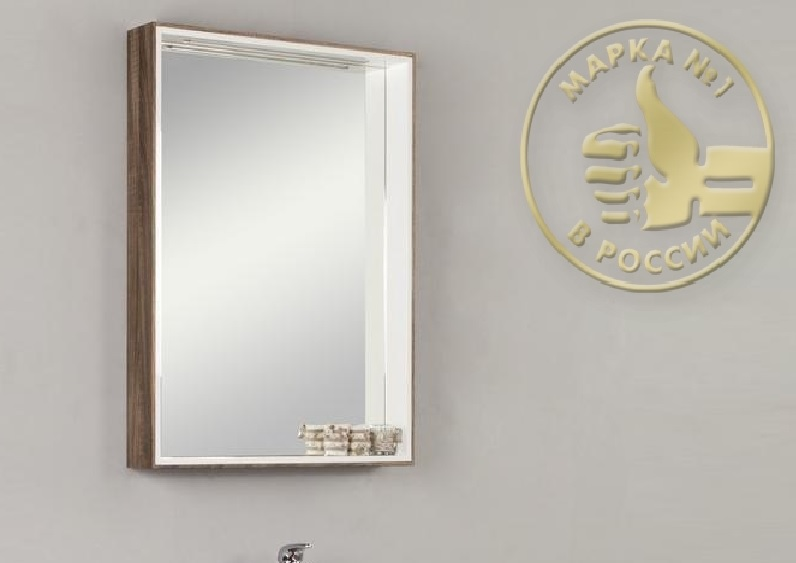 Фабиа 80 КорицаМебель для ванной<br>Акватон 1A166902FBPF0 Фабиа 80 подвесной зеркальный шкаф. Цвет корица.<br>