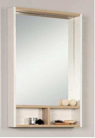 Йорк 55 белый/ ясень фабрикМебель для ванной<br>Акватон 1A173202YOAV0 Йорк зеркальный шкаф 55 см. Цвет белый/ ясень фабрик.<br>