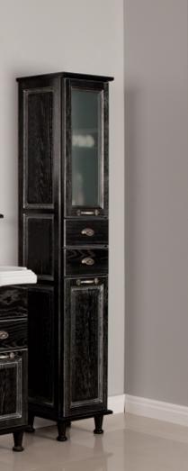 Жерона  Черное серебро праваяМебель для ванной<br>Акватон 1A158903GEM5R Жерона шкаф-колонна правая.<br>