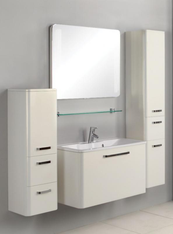 Валенсия 90 глянцевая, белый жемчугМебель для ванной<br>Тумба под раковину Акватон Валенсия 90 1A123501VAG30 с двумя выдвижными ящиками за фасадом, с системой плавного закрывания, первый - основной с рейлингами, а второй, скрытый под раковиной, предназначен для мелких предметов. На дне обоих ящиков специальные коврики, выполненные из особой вспененной резины. Корпус выполнен из ДСП с ламинированным покрытием, обладает повышенной влагостойкостью и сопротивляемостью износу, не выделяет вредных испарений, хорошо выдерживает воздействие бытовых химических средств, за исключением абразивных материалов и едких веществ и жидкостей. Фасадные детали изготавливаются из МДФ с пятислойной покраской.<br>