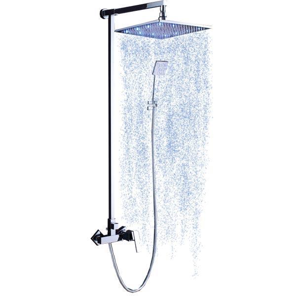 LB-LED 802 хромДушевые системы<br>Kanggu LB-LED 802 Душевая система.<br>В комплект входит:<br>- раслабляющий верхний душ<br>- душевой шланг<br>- душевая лейка (латунь)<br>- настенный держатель для душевой лейки<br>- смеситель для горячей и холодной воды<br>- подсветка LED<br>
