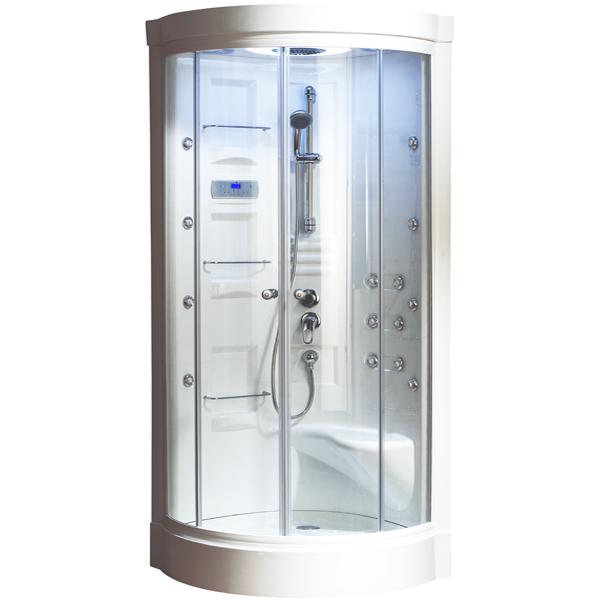 Malibu с паром стекло прозрачноеДушевые кабины<br>Aquanet Malibu душевая кабина. Душевая кабина с прозрачным стеклом. Комплектация: спинной массаж: 6 форсунок, боковой массаж 8 форсунок, расслабляющий дождевой душ, встроенное сидение, низкий поддон, купол, контрольная панель управления с LCD-дисплеем, регулирование температуры пара, непрямое мягкое освещение (верхняя лампа), хромированный смеситель для холодной и горячей воды, хромированный душевой шланг со стойкой и лейкой, вентиляция, зеркало, полочка для косметических средств, задние стенки: акриловые, белые, подвод электричества 220-230 В.<br>