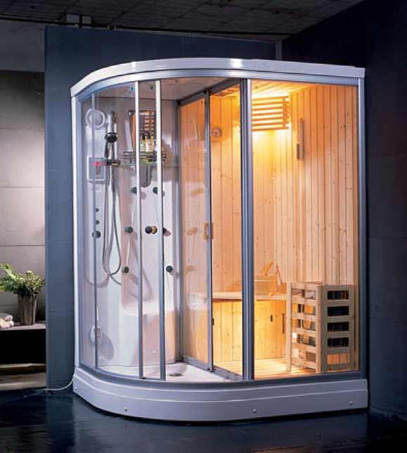 AG-0204 с гидромассажем RСауны<br>Сауна Appollo AG-0204. Обладает функциями финской сауны и турецкой бани, оснащена гидромассажными форсунками и нагревателем. Профиль белый, стекла прозрачные, сауна изнутри отделана деревом. Правый угол.<br>
