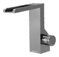 NOBA4017 INX (Матовый никель)Смесители<br>Смеситель для раковины CLOCK WORK NOBA4017 с изливом водопад - без донного клапана. Цвет: матовый никель.<br>