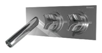 NOBA4454H1 INX (Матовый никель)Смесители<br>Смеситель для раковины CLOCK WORK NOBA4454H1 INX встраиваемый в стену, с изливом 117 мм. Цвет: матовый никель.<br>