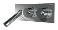 NOBA4456H1 INX (Матовый никель)Смесители<br>Смеситель для раковины CLOCK WORK NOBA4456H1 INX встраиваемый в стену, с изливом 117 мм. Цвет: матовый никель.<br>