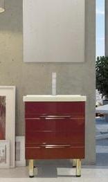 Модус 65 на ножках Вишня-глянецМебель для ванной<br>Тумба Sanvit Модус 65 с двумя выдвижными ящиками с доводчиками, в комплекте с керамической раковиной и четырьмя ножками.<br>