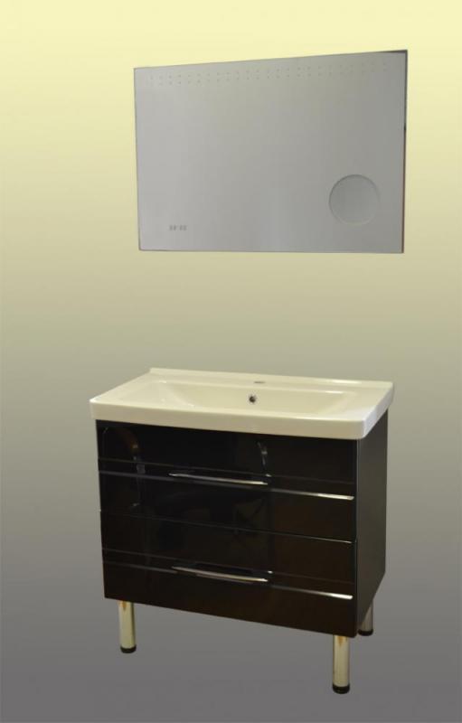 Модус 85 на ножках Черный глянецМебель для ванной<br>Тумба Sanvit Модус 85 с двумя выдвижными ящиками с доводчиками, в комплекте с керамической раковиной и четырьмя ножками.<br>