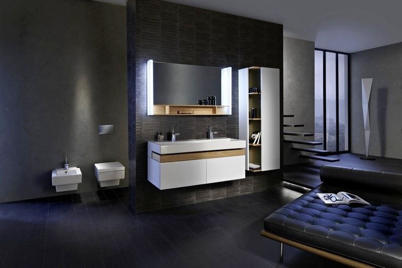 Terrace EB1189-274 ЧерныйМебель для ванной<br>Мебель под раковину Jacob Delafon EB1189-274 Terrace 150 см. Цвет черный. 1 ящичек для аксессуаров из цельного дерева и 2 выдвижных ящика с механизмом  плавное закрывание .<br>
