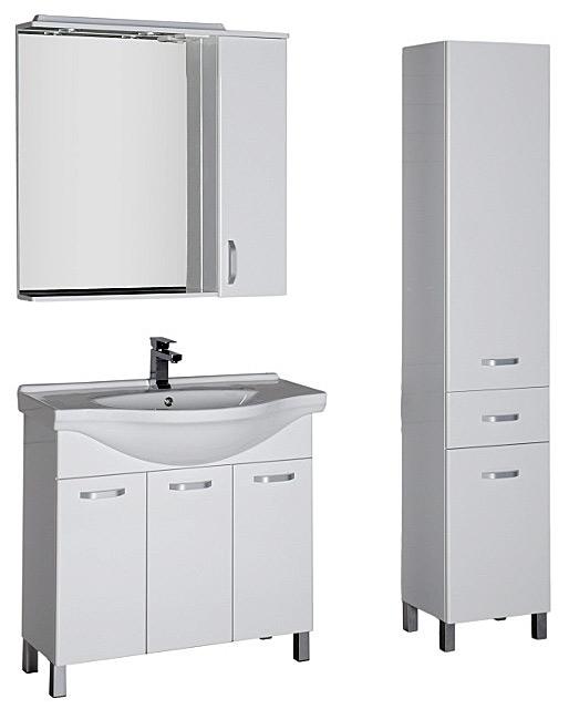 Глория 90 900 ммМебель для ванной<br>Тумба Aquanet Глория 171599. 3 двери. Цвет белый.<br>