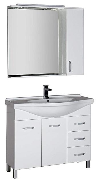 Глория 100 1000 ммМебель для ванной<br>Тумба Aquanet Глория 171600 100 см. Цвет белый.<br>