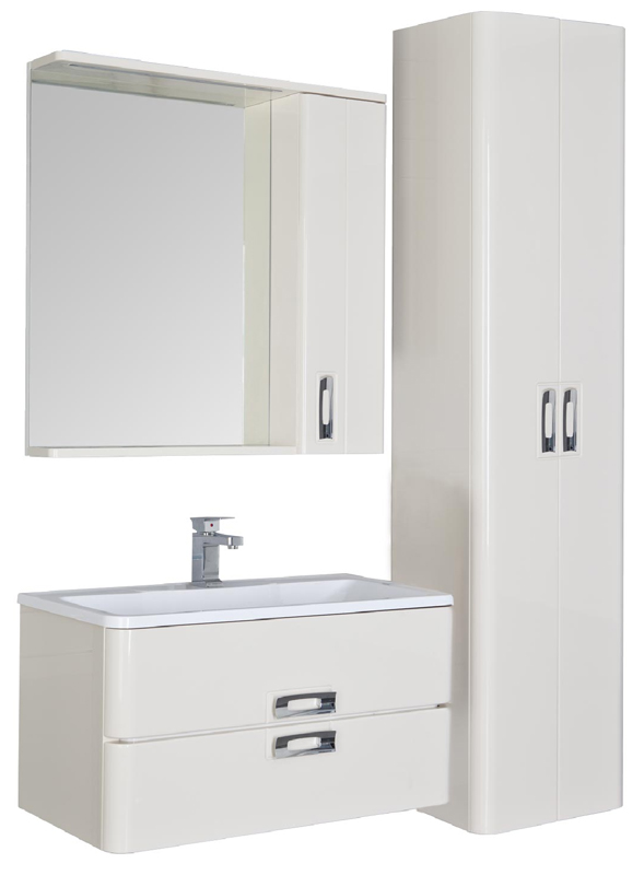 Паллада 90 белый глянец Белый глянецМебель для ванной<br>Тумба под раковину Aquanet  Паллада 175312. Цвет белый глянец.<br>