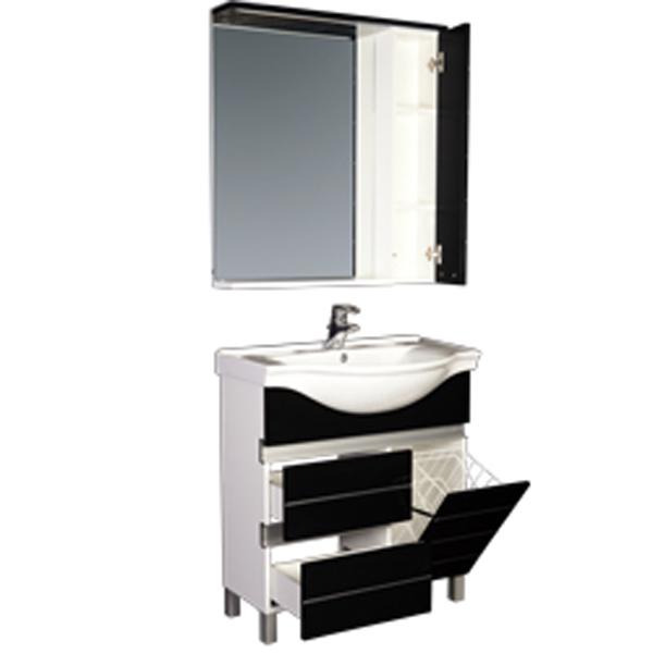 Доминика 80 б/к белая/фасад черный  Белая/фасад черныйМебель для ванной<br>Тумба под раковину Акванет Доминика 80 с бельевой корзиной, артикул 172376. В комплект поставки входит тумба. Цвет: белый.<br>