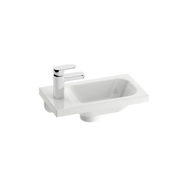 Chrome 400 Белый правыйРаковины<br>Раковина Ravak Chrome 400. Артикул XJGP1100000. Подойдет и для туалета. Комбинируется с тумбой SD Chrome 400. Раковина без перелива, необходимо использовать слив. Имеет отверстие под смеситель. В дополнение возможность установки  смесителя для раковины, ванны или душевого уголка с мебелью  и аксессуарами RAVAK и Chrome. Консоль для раковины приобретается отдельно.<br>