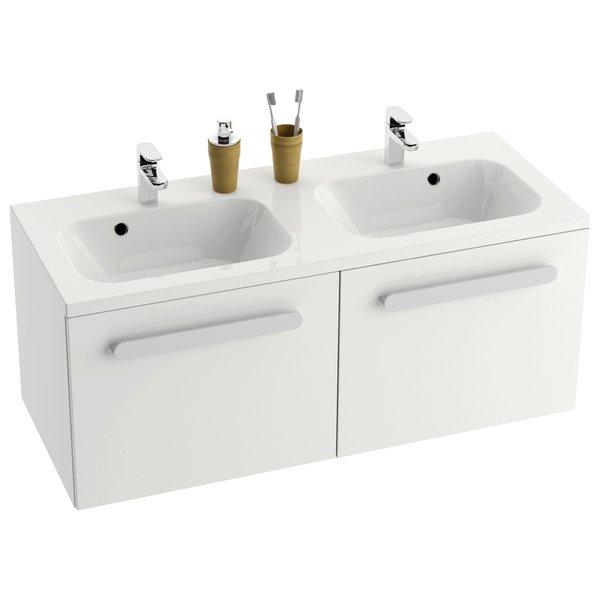 Chrome SD 1200 БелаяМебель для ванной<br>Тумба под двойную раковину SD Chrome 1200 X000000536. Цвет - белый.<br>