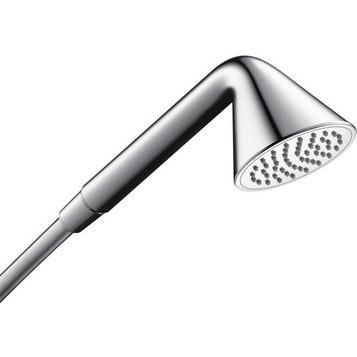 Front 26025000 ХромДушевые гарнитуры<br>Axor  Front 26025000 ручной душ.<br>Диаметр душевой лейки 85 мм. Подключение для душевого шланга 1/2.<br>Грязеулавливающий фильтр, система QuickClean против известковых отложений, расход воды 9 л/мин при давлении 3 бар, подходит для проточных водонагревателей.<br>