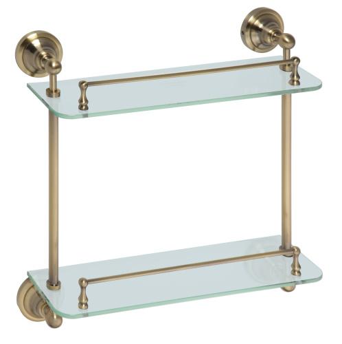 Retro bronze 144102127 БронзаАксессуары дл ванной<br>Bemeta Retro bronze 144102127 двойна полочка со стеклнными полками. Размеры: 130х400х380 мм.<br>