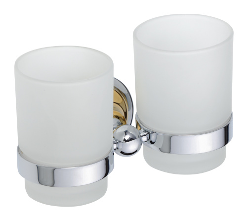 Retro Gold and Сhrom 144210028 Золото хромАксессуары для ванной<br>Bemeta Retro Gold and Сhrom 144210028 двойной держатель стаканов для ванной комнаты.<br>