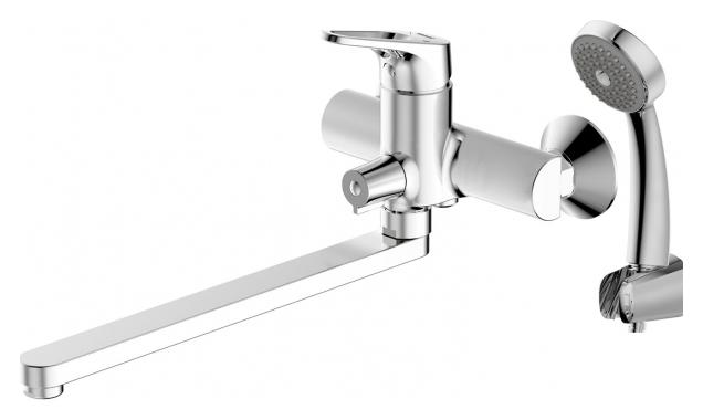 Drop-D F648162C-LB-RUS ХромСмесители<br>Смеситель для ванны Bravat Drop-D F648162C-LB-RUS с длинным изливом. Корпус латунный. Ручка цинковая. Керамический картридж Kerox 35 мм. Керамический переключатель. Аэратор Neoperl. 1-функциональная душевая лейка из ABS-пластика. Шланг 1500 мм PVC. Излив литой 300 мм. Поток воды 15 л/мин при давлении 0.3 MPa.<br>