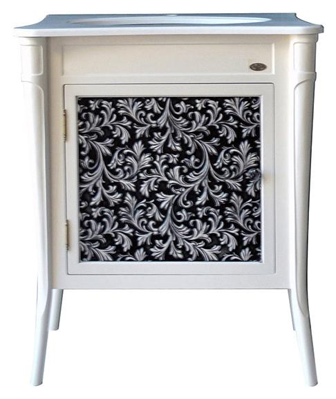 Валенсия 75 New bianco (черная патина) Bianco (черная патина)Мебель для ванной<br>Тумба под раковину Атолл Валенсия 75 на ножках. Фасад МДФ, покраска. Базовый цвет bianco (черная патина). Раковина Creavit со столешницей в комплекте.<br>