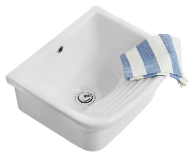 Lavabi darredamento Sele VA046 bianco lucidoРаковины<br>Раковина постирочная Globo Lavabi darredamento Sele VA046 белая глянцевая, с переливом, для настенного смесителя. Цена указана за чашу раковины. Все остальное приобретается дополнительно.<br>