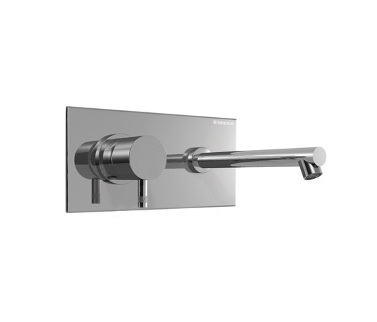 EOBA0114DX INX (Матовый никель)Смесители<br>Смеситель для раковины DIAMETROTRENTACINQUE EOBA0114DX INX двухсекционный, встраиваемый в стену с декоративной панелью - излив 200 мм справа (диаметр ручек 45 мм). Цвет: матовый никель.<br>