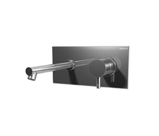 EOBA0114SX INX (Матовый никель)Смесители<br>Смеситель для раковины DIAMETROTRENTACINQUE EOBA0114SX INX двухсекционный, встраиваемый в стену с декоративной панелью - излив 200 мм слева (диаметр ручек 45 мм). Цвет: матовый никель.<br>