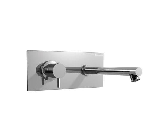 EOBA0441DX INX (Матовый никель)Смесители<br>Смеситель для раковины DIAMETROTRENTACINQUE EOBA0113DX INX двухсекционный, встраиваемый в стену с декоративной панелью - излив 200 мм справа (диаметр ручек 35 мм). Цвет: матовый никель.<br>