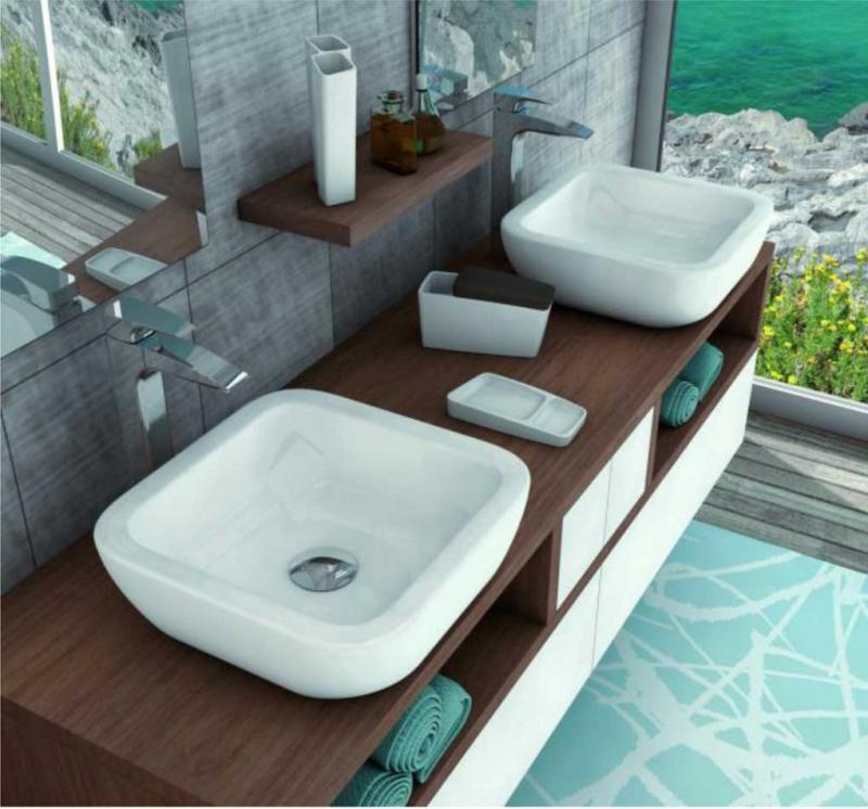 Мебель для ванной комнаты с двумя раковинами