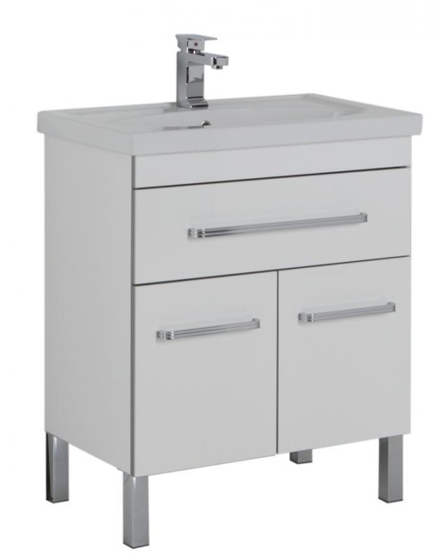 Сиена 60 с выдвижным ящиком БелаяМебель для ванной<br>Тумба Aquanet Сиена 60 .<br>Габариты тумбы: 57.5x44x42.5 см<br>Современный дизайн.<br>Материал корпуса ДСП. Материал фасада МДФ<br>Ширина с раковиной 61 см , без раковины 57.5.<br>Две дверцы с выдвижным ящиком<br>