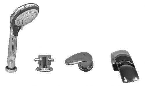 Dunaj D472.5P ХромСмесители<br>Rav Slezak Dunaj D472.5P каскадный смеситель для ванны. Врезной на 4 отверстия. В состав комплекта входит: переключатель керамический MD0448.5 и душевой шланг с пружиной. Монтаж на борт ванны и плиточный бортик.<br>