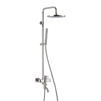 Rond  ХромДушевые системы<br>Душевая стойка Valentin Rond. В комплекте поставки: верхний тропический душ. ручной душ, гибкий шланг 175 см, механический смеситель с изливом в ванну, душевая штанга, регулируемая по высоте.<br>