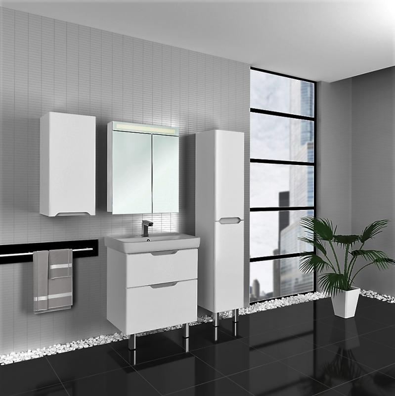 Q 60 99.0004 БелаяМебель для ванной<br>Тумба под раковину Dreja Eco Q 60 99.0004 напольная, отличается современным дизайном и высоким качеством. Оснащена с двумя выдвижными ящиками, механизмы плавного закрывания Hettich, хромированные регулируемые передние ножки. Цвет изделия белый.<br>