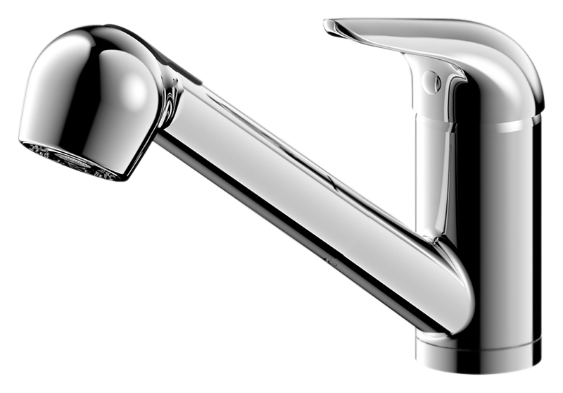 Omega F785129CP-RUS ХромСмесители<br>Смеситель для кухни Bravat Omega F785129CP-RUS, однорычажный, с выдвижной лейкой.<br>Покрытие: хром.<br> Латунный корпус, цинковая ручка.<br> Поворотный излив.<br> Керамический картридж Kerox 35 мм.<br>Аэратор Neoperl.<br> Расход воды: 8,3 л/мин при давлении 0,3 MPa.<br>Гибкая подводка G1/2, длиной 450 мм.<br>